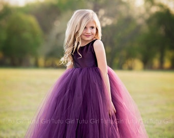 Purple Flower Girl Dress Plum Tutu Dress Eggplant Tulle Dress Flower Girl Wedding - All Colors, All Sizes!