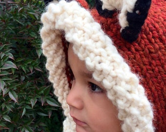 Knit fox hooded cowl, child's cowl, children's winter accessories, knit animal hat, fox winter hood, cowl, woodland animals