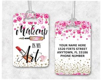 Gift For Makeup Lover, Gift for Makeup Artist, Lipstick Junkie, Makeup Luggage Tag, Makeup Lover Gym Bag, Makeup Lover Luggage Tag