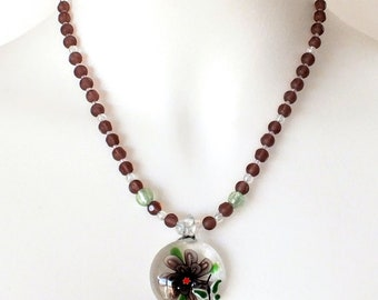 Lampwork Glass Pendant Necklace Glass Beaded Necklace with Magnetic Clasp