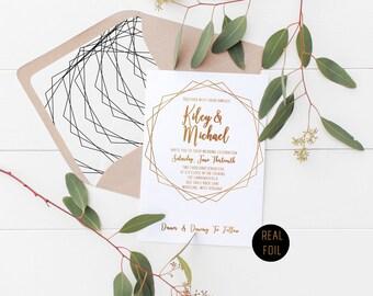 Real Foil Geometric Wedding Invitation Deposit