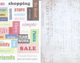 DECALS paper STICKERS words English + lines writing old 2 boards 10 cm x 14.5 cm