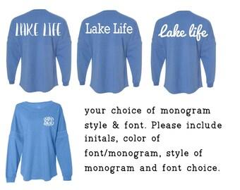 Lake Life Overzied Shirt - glitter or regular vinyl