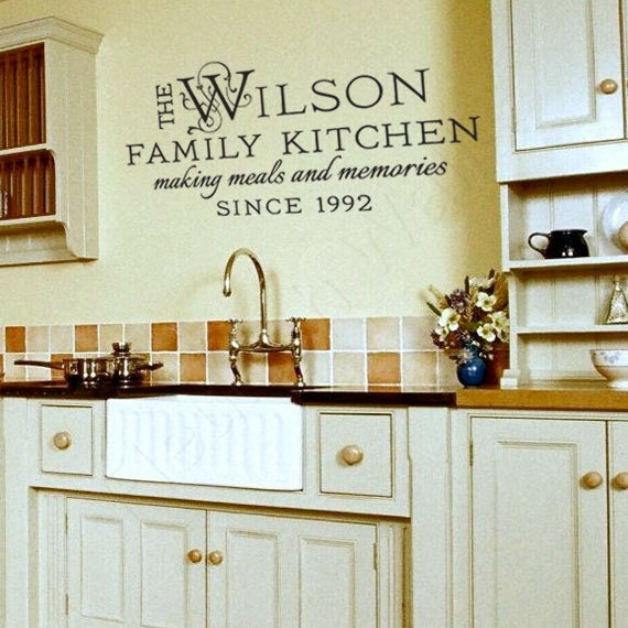 Family Name Decal Kitchen Wall Decor Personalized Vinyl