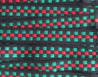 Italy 3 Yards Vintage Woven Edging Fabric Sewing Trim Red Black And Green  IT 48