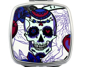 Purple and Pink Day of the Dead Skull Metal Compact Mirror