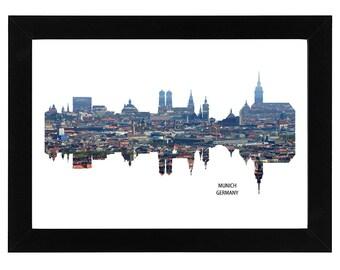 Munich Germany Skyline Print with aerial city photo