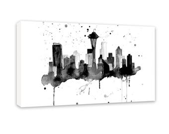 Seattle Skyline Art - Seattle Skyline Painting - Seattle Washington - Cityscape Art Print - Seattle Skyline Canvas Art Print, Skyline Canvas