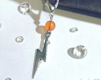 Lightning bolt charm for planner, travelers notebook, bag, keyring or zipper pull clip charm