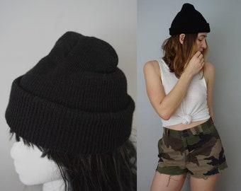 Vintage US Navy Wool Watch Cap   Genuine Military Issue   Black Wool Beanie Hat Watch Cap   Cold Weather Army Beanie Military Hat Beanie