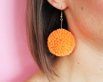 Small Neon Orange Pom Pom Drop Bar Earrings - Gold Plated/ Sterling Silver