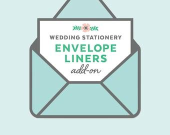 custom envelope liners, wedding invitation add-on, printed envelope liners