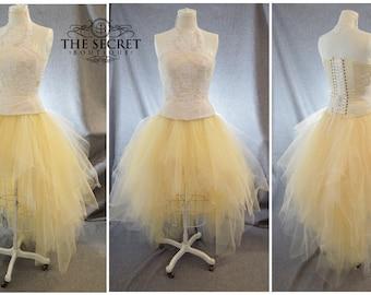 ivory tulle bridal skirt, high low corset skirt