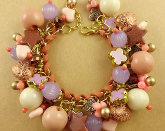 Peach & Lilac Chunky Charm Bracelet - lavender and soft salmon pink with touches of gold and copper - puffy heart charms, goldstone stars