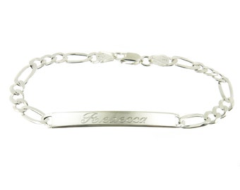 925 Sterling Silver Figaro Link ID Bracelet with Personalized Name Engraved 7mm