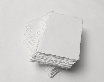 "4.1"" x 5.8"" (A6) White, 150gsm Handmade Deckle Edge Cotton Rag Paper // Deckle Edge Paper, Cotton Paper, Invitation Paper, Fine Art Wedding"