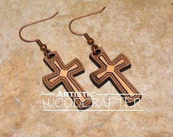 Wooden Cross Earrings (Walnut/Bamboo)