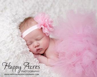 PINK TUTU, baby tutu, newborn tutu and  headband, newborn photogpraphy prop
