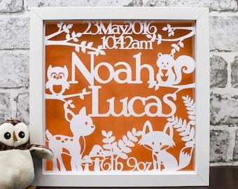 Woodland Nursery Art, Personalised Baby Boy Gift; Newborn Name Frame, Baby Girl Keepsake, Animal Papercut, Deer, Fox and Owl, Nursery Decor