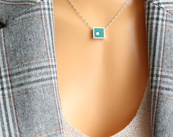 Dioptase Square Sterling Silver Necklace, Stone Pendant, Cube Beads Shiny Chain, Little Square Pendant, Everyday, Minimalist Necklace
