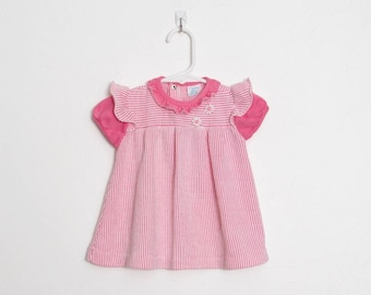 Girl's Carter's Dress / Pink and White Striped w/ Daisy Appliqué / Vintage Baby Girl 70s Dress / Size 12 months