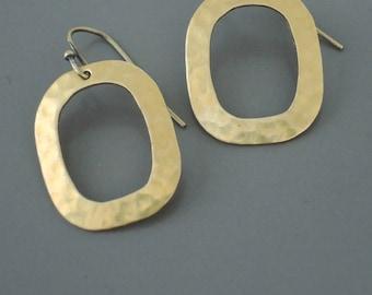 Vintage Earrings - Mid Century Earrings - Brass Earrings-  Hammered Earrings - Chloes Vintage Jewelry - Handmade Jewelry