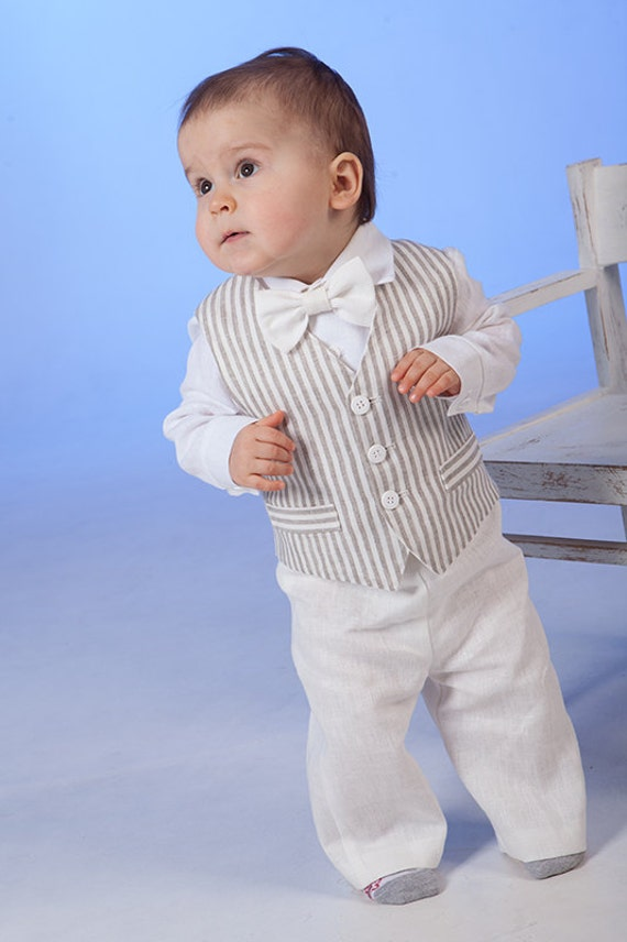 Baby boy linen suit Ring bearer outfits Baptism formal outfits