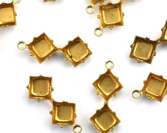 Prong Settings Stone Raw Brass 6mm Two Squares (12) FI793