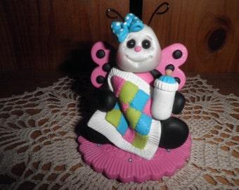 Polymer Clay Ladybug - Pink Ladybug Holding Quilt Baby Shower Cake Topper/Gift