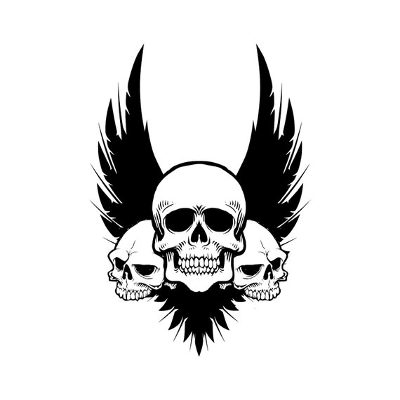 Skull Wings Svg Cut Files For Silhouette Cricut Designs Vector