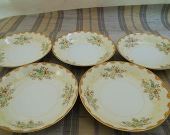 5 Vintage Meito China Dalton Hand Painted Floral Soup Bowls F & B Japan