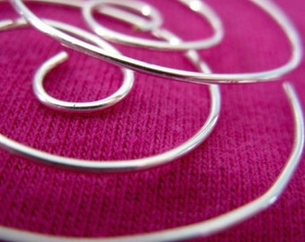 Free Shipping. FUNNEL Smooth.  20 gauge silver filled spiral hoop earrings