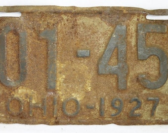 Vintage 1927 License Plate Ohio State Hot Rod Muscle Car Historical Garage 27