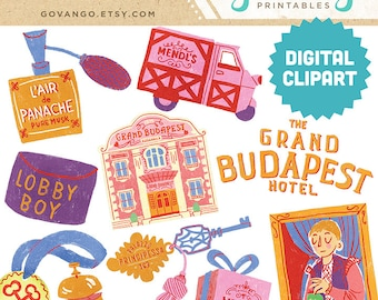 GRAND BUDAPEST HOTEL Digital Clipart Instant Download Illustration Collage Ephemera Commercial Wes Anderson Movie Film Hipster Vintage Retro