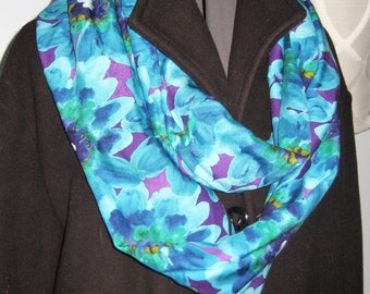 Shades of Blues, Purples, Greens Floral Infinity Scarf with Hidden Pocket