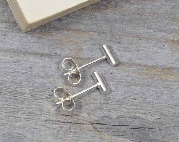 Small Stick Earring Studs, Simple Bar Earring Studs In Sterling Silver, Handmade In England
