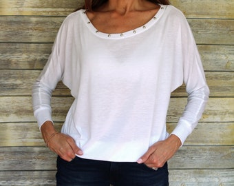 Long sleeve white silver studded women's top