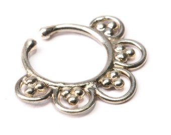 Septum Ring Sterling Silver 925 Septum Fake Septum Tribal Jewelery Indian Nose Ring S14 Gift Boxed and Gift Bag Free UK Delivery
