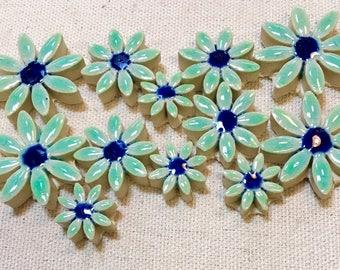 Blue Daisies Flowers Mosaic Ceramic Tile Pack Handmade