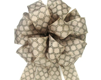 Christmas Bow, Tree Topper Bow, Wreath Bow, Beige and Black Bow