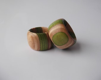 Rings made from recycled skateboards ( stripped chunky)