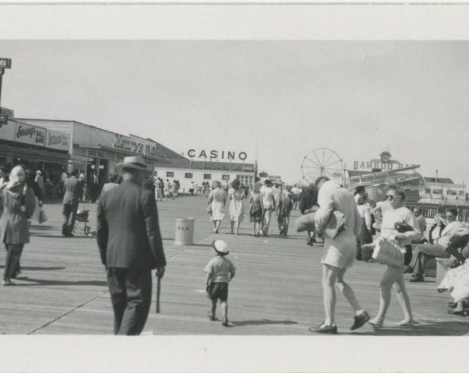 Boardwalk, Seaside Heights, NJ, c1940s: Vintage Snapshot Photo [82650]