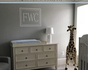 Baby Boy or Girl Crib Monogram Wall Decal for the Nursery