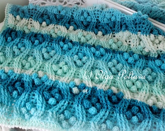 Cables and Popcorns Baby Afghan, Baby Blanket, Stroller Cover, Crochet Pattern, Cables Stitch Adjustable Afghan Pattern