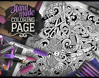 HANDMADE Digital Coloring Page, Adult Coloring, Hand Made Doodles Art, Printable, Coloring sheet, Doodle Illustration, Art Therapy, Download