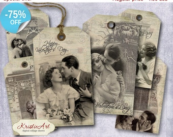 75% OFF SALE Valentine's Day Tags - Digital Collage Sheet Digital Tags T002 Printable Download Image Tags Digital Image Love tags Vintage