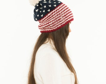 USA Chunky Knit  Slouchy Hat Pom Pom Wool Beanie, Ribbed Knitted Patriotic Slouch Toque, Women's Handmade Winter Accessory