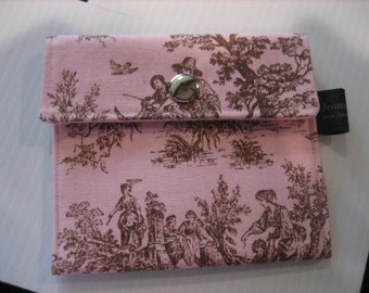 JeannieBags Wallet Business Card holder Pink Toile fabric