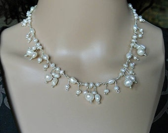 Cascading Cherry Blossom Pearl Necklace - Ivory White Freshwater Pearls and Sterling Silver Handmade Necklace in an Art Nouveau Style