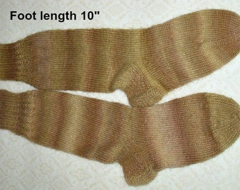 "Wool knee socks hand knit  . Foot length 10"". Length from cuff to heel 16"" . Boot socks. Boot liners.  Slipper socks.  Ready to ship."